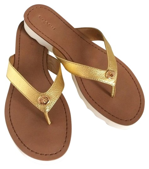 Preload https://item5.tradesy.com/images/coach-thong-slippers-gold-flats-689609-0-7.jpg?width=440&height=440