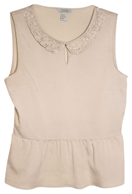 H&M Peter Pan Collar Top Beige