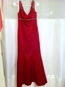 David's Bridal Red F12910 Dress