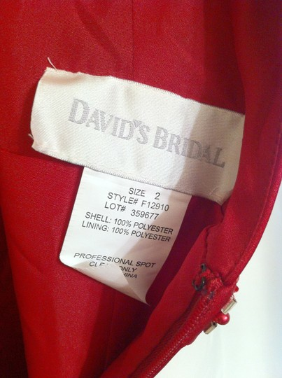 David's Bridal Red Polyester F12910 Formal Dress Size 2 (XS)