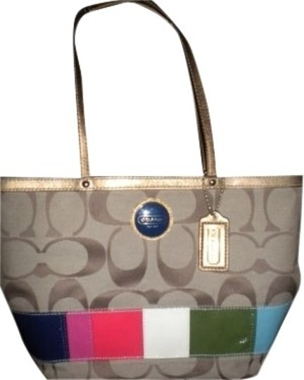 Coach Tote in Khaki With MultiColor Stripe