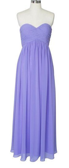 Purple Strapless Sweetheart Long Chiffon Formal Bridesmaid/Mob Dress Size 4 (S)