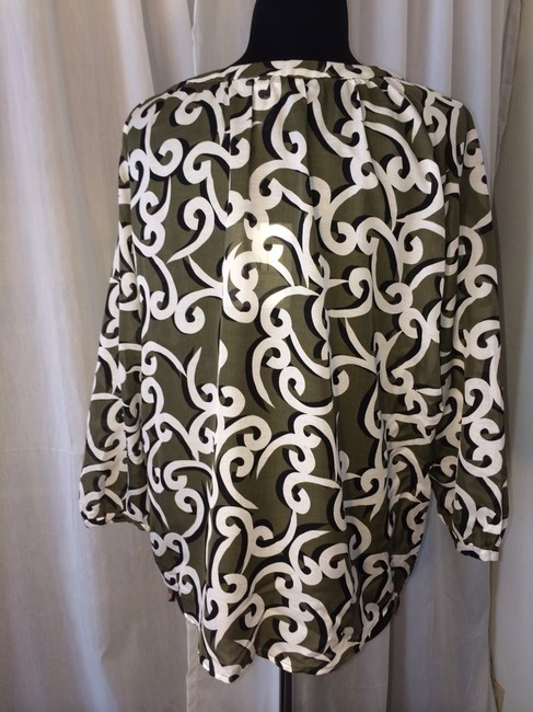 Diane von Furstenberg Top Broken Waves Khaki