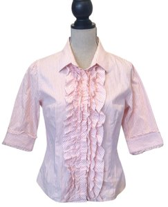Juicy Couture Button Down Shirt White with pink stripes