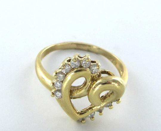 Other 14KT YELLOW GOLD HEART BAND RING WITH 12 DIAMONDS