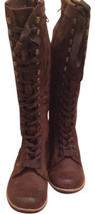 J SHOES Leather Lace Up Knee High brown Boots