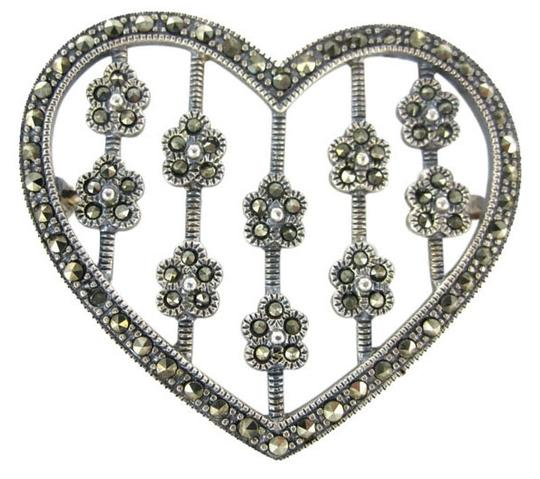 Other MARCASITE HEART PIN BROOCH STERLING SILVER