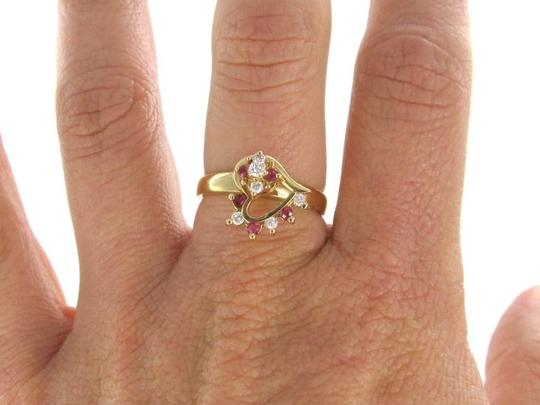 Other 14K KARAT YELLOW GOLD RING WITH A SPINNER 6 DIAMONDS HEART AND RUBIES FINE JEWELRY