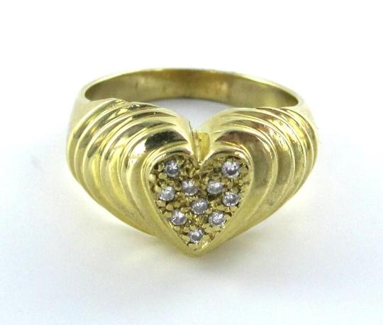 Other 14KT YELLOW GOLD HEART BAND RING WITH 10 DIAMONDS