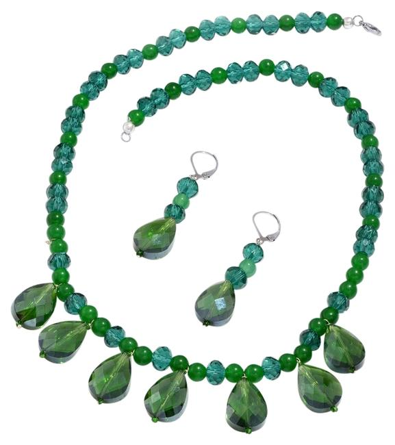 Green Glass Pearl/ Agate Set Necklace Green Glass Pearl/ Agate Set Necklace Image 1