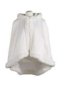 David's Bridal Ivory Satin Mid-length Cape with Faux Fur Trim