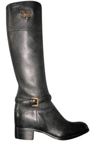 Prada Tall Flat Knee Riding Logo Black Boots