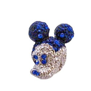 Sapphire Crystals Cute Mickey Mouse Brooch Sparkling Silver Casting