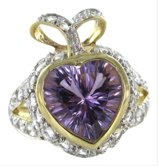 Other 10 karat yellow gold diamond ring purple stone heart valentines