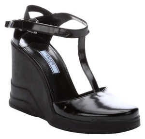 Prada T Strap Mary Jane Leather Black Wedges