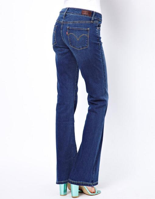 Levi's Contoured Fit Leg Medium Wash Hugs The Waist Fading & Whiskering Boot Cut Jeans-Medium Wash
