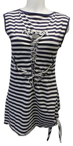 Jean-Paul Gaultier Anchor Nautical Themed Peek-a-boo Top Navy Blue and White