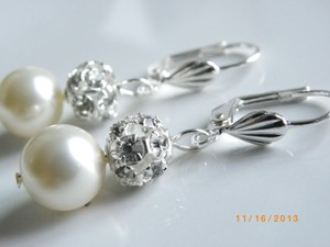 Other Handmade Swarovski Crystal Cream Pearl Bridal Earrings Bridesmaid Jewelry Wedding Bridal Jewelry Earrings