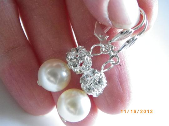 White Cream Swarovski Crystal Pearl Bridesmaid Earrings