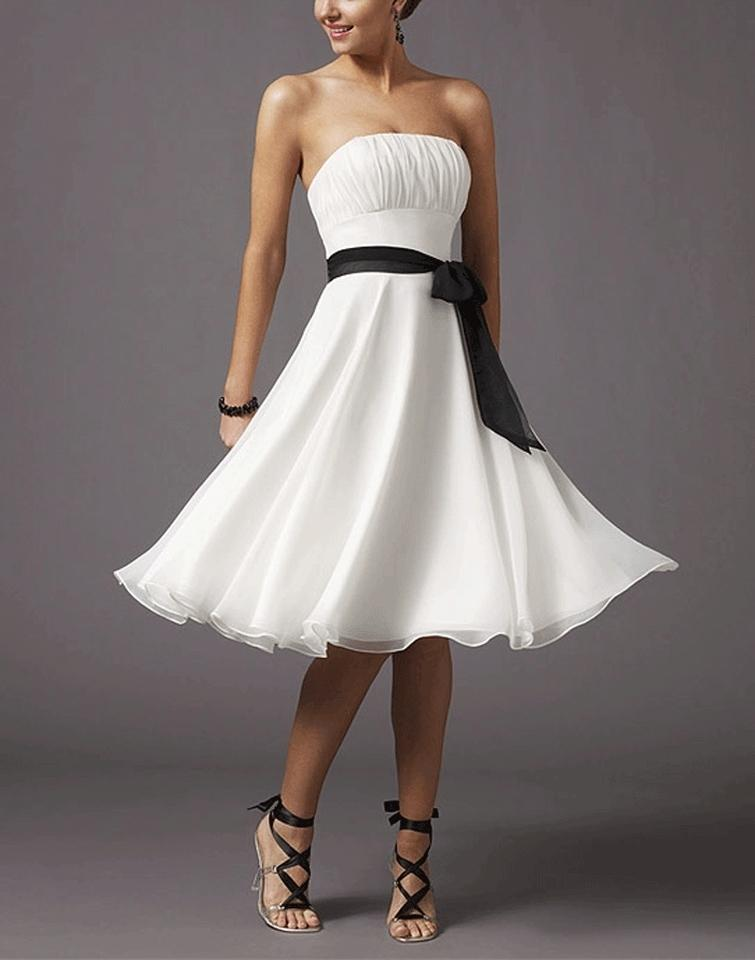 White Chiffon Strapless Pleated Bust W/ Sash