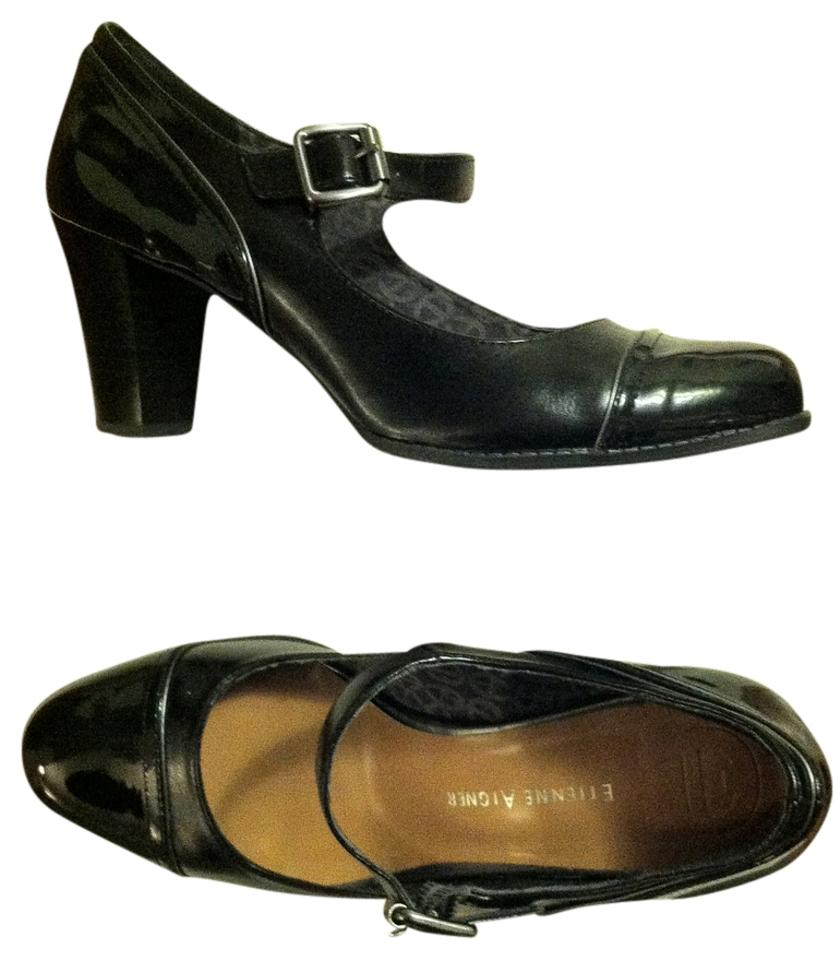 80a31cc6d7 Etienne Aigner Mary Jane Patent Leather Strappy Classy No Longer Available  Gunmetal/Black Pumps Image