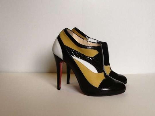 Christian Louboutin The Patchwork Leather Suede Pony Hair Red Soles Designer Black/ multi Boots