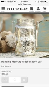 6 Mercury Glass Mason Jars