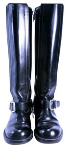 Chloé Lagerfeld Karl Lagerfeld Leather Riding Italian Leather Italian Designer Zipper Black Boots