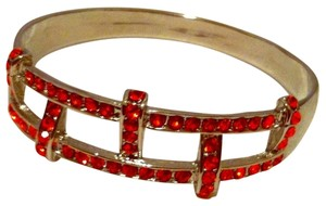 FIERY Orange Red Rhinestone & Silver Bangle NEW