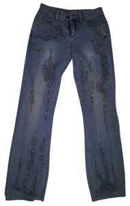 MZ DIVINE Vintage Beaded 32 Inch Inseam Boot Cut Jeans-Light Wash