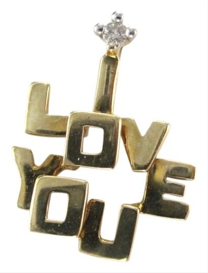 Other 10KT YELLOW KARAT GOLD PENDANT 0.5DWT CHARM 1 DIAMOND I LOVE YOU FINE JEWELRY