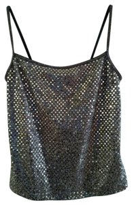 Other Stitching Nylon Polymetal Polyester Top BLACK WITH SILVER SEQUINS
