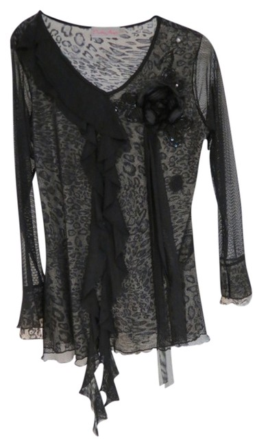 Preload https://img-static.tradesy.com/item/691803/pretty-angel-black-lace-with-silver-leopard-undertone-blouse-size-14-l-0-0-650-650.jpg