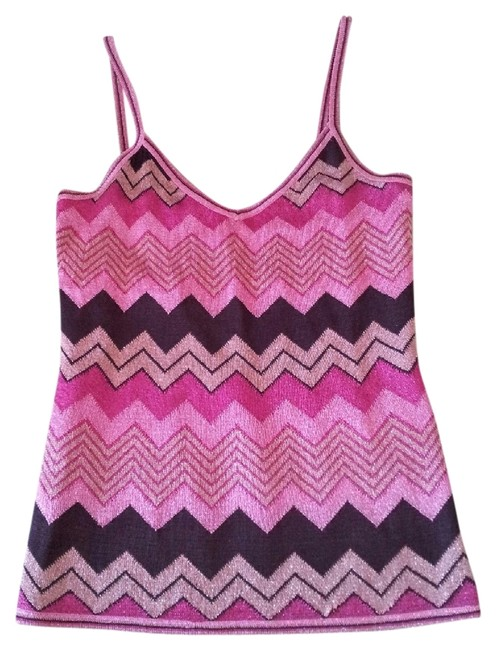 CACHE Glitter Like Threading Zig Zag Design Top MULTI COLORED