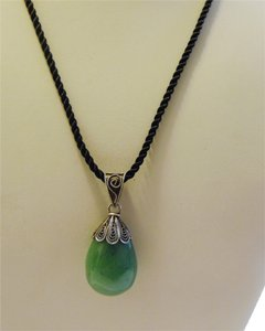 Other .925 Sterling Silver Green Gemstone Pendant with 18 Inch Cord