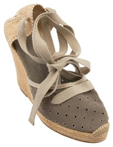 Stella McCartney Canvas Lace Up Tie Grey Wedges