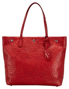 Furla Ostrich Dots Embossed Tote in Red