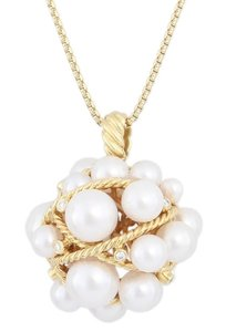 David Yurman David Yurman Large Pearl Crossover Cluster Necklace