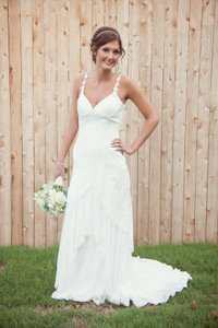 Galina Chiffon Tank Sheath Gown With Illusion Back Wedding Dress