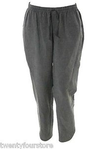 Rebecca Taylor Linen Drawstring Track Ankle Crop W Slits Pants
