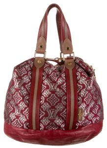 Louis Vuitton Satchel in Burgundy And Grey