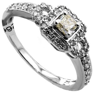 ABC Jewelry 3/8 ct diamond wedding or fashion ring. NATURAL Yellow cushion cut