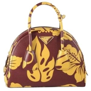 Prada Hibiscus Leather Saffiano Satchel in Burgundy and Yellow 3181bbad8aa46
