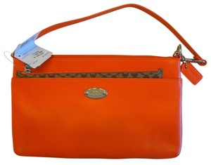 Coach Orange Logo Pop Pouch Monogram Coral Clutch