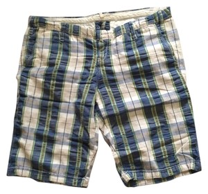 Abercrombie & Fitch Plaid Bermuda Shorts Blue, Green & White