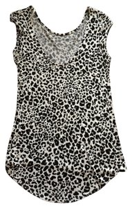 Zara Leopard High-low T Shirt Black & White