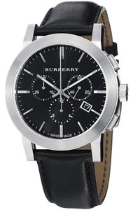 Burberry BU9356 Burberry The City Men Watch 42 mm Chronograph Steel Black Dial Leather
