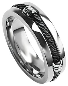 Truly Unique Men's Black Titanium Band Black Rope Twirl 7-Mm Sizes 9-14 Limited Supply Free Shipping
