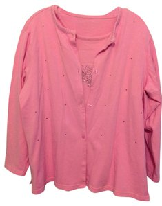 Quacker Factory Studded T Shirt Bright Pink Fleece