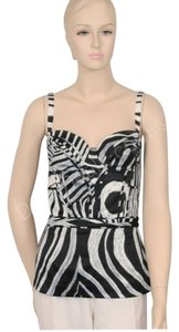 Just Cavalli Bustier Animal Print Top Black and White